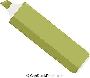Green marker icon, flat style