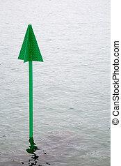 Green marker post