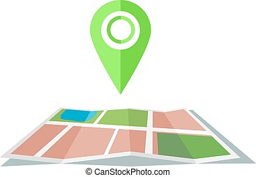 Green marker with flat map - Green map marker with flat map...