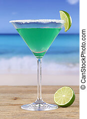 Green Martini Cocktail on the beach
