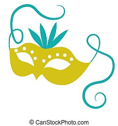 Green mask flat color illustration on white