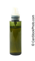 Green massage oil bottle isolated
