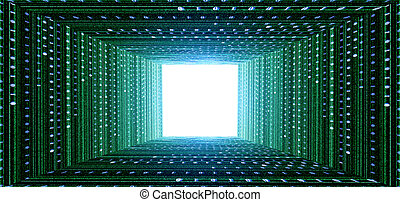 green matrix tunnel and light at the end