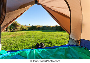 Green meadow and forest seen thru open tent door