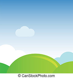 Landscape with hills and blue sky. Vector