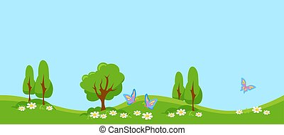 Green meadow with butterflies. Summer landscape with young trees and foliage white daisies.