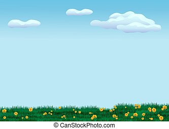 Green meadow with flowers. Cool summer landscape with young grass and foliage.