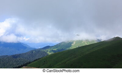 Green meadows under the clouds. Time Lapse, Sochi, Russia
