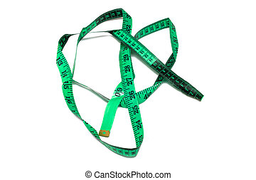 Green measuring tape, isolate on white background