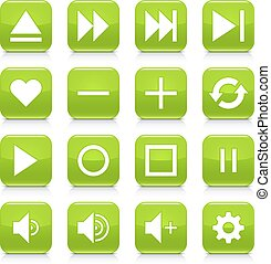 Green media sign rounded square icon web button