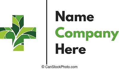 Green medical cross abstract vector logo design