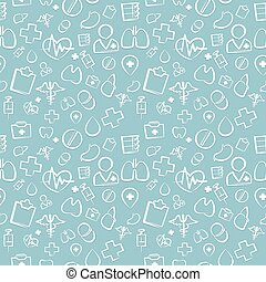 Green Medical Seamless Pattern. Editable pattern in swatches. Clipping paths included in additional jpg format.