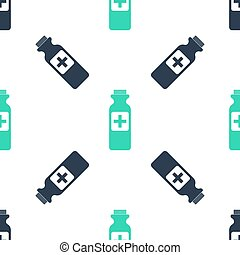 Green Medicine bottle icon isolated seamless pattern on white background. Bottle pill sign. Pharmacy design. Vector