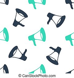 Green Megaphone icon isolated seamless pattern on white background. Vector