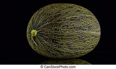 Green melon rotating on black background.