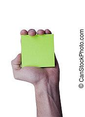 Green memo paper holding