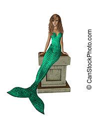Green Mermaid Sitting On A Pedestal - Green mermaid sitting...