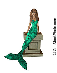 Green Mermaid Sitting On A Pedestal - Green mermaid sitting...