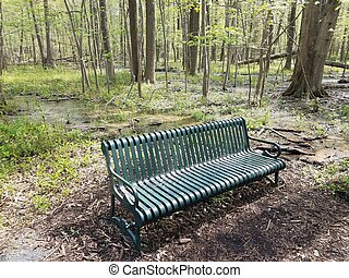 green metal bench or seat in forest or woods with water