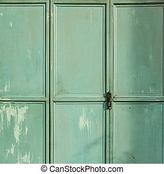 Green metal door background