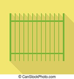 Green metal fence icon. Flat illustration of green metal fence vector icon for web design