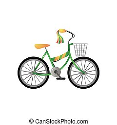 Green metal kid bicycle with yellow seat and front basket