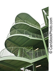 Green Metal Staircase on White Background