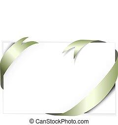 Green metal vector ribbon around blank white paper (where ...