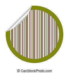 green metalic stripes sticker isolated on white
