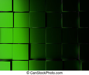 Green metallic cubes background
