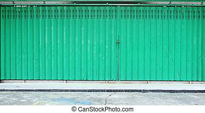 green metallic door