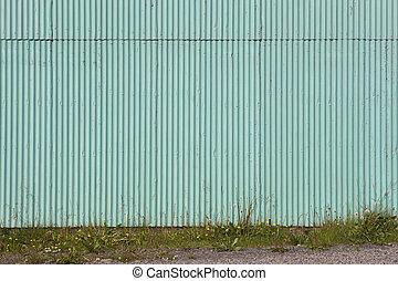 Green metallic facade