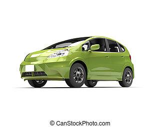 Green metallic modern compact car