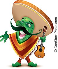 Green Mexican cactus in sombrero and poncho sings. Isolated...