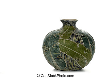 Green Mexican Pottery - Mexican pottery with green leaf ...
