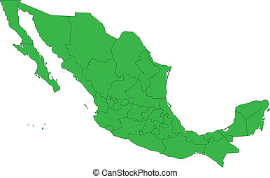 Green Mexico map separated on the states