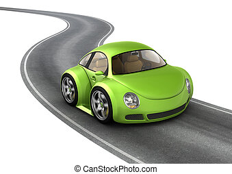 Green micromachine on the road - 3d isolated micromachines...