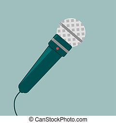 Green microphone, illustration, vector on white background.