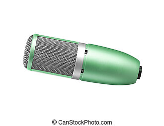 green microphone on a white background
