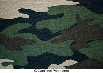 Green military camouflage fabric, cloth background with beige, brown and black spots