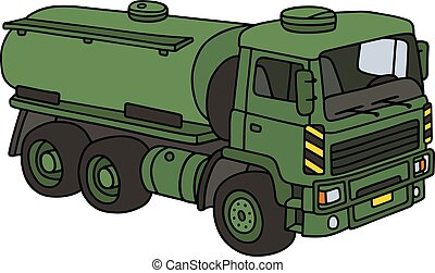 Green military tank truck - Hand drawing of a green military...