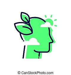 Green Mind - modern vector single line icon