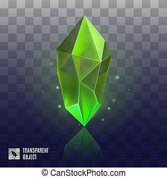 Gem Icon - Green Mineral Crystal Precious Stone, Magic...