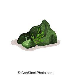 Green mineral rock stone, design element of natural landscape vector Illustration on a white background