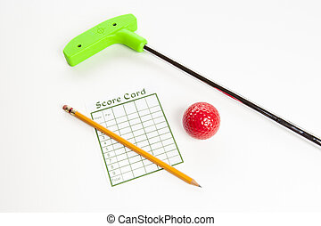 Green mini golf club with score card and ball