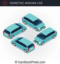 green minivan car - Isometric green minivan car. 3d vector...