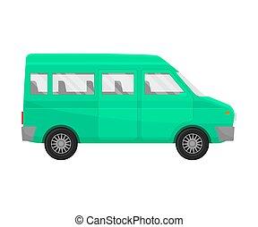 Green minivan. Vector illustration on a white background.