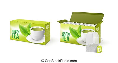 Green mint tea paper packages 3d mockup, realistic vector illustration isolated