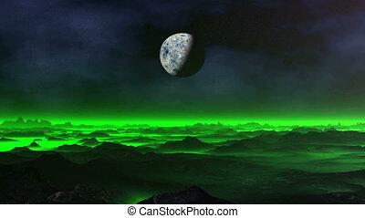 Green Mist over Alien Planet