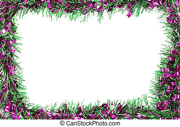 Green mix violet color tassel of Christmas on white background.